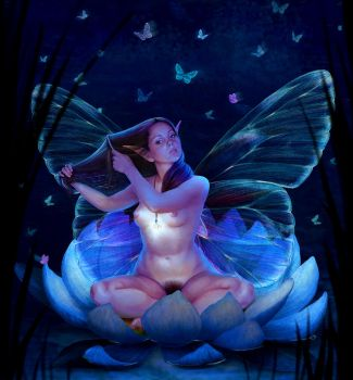 Pixie on the flower. Night version by Feael