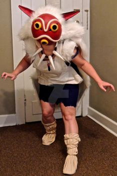 Princess Mononoke San cosplay mask down by StormCloude