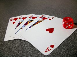 Royal Flush and a Red Die by Dunder-Muffin