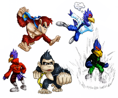 SSBM: Falco and DK by Monkeytaillo