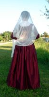 Red Silk Kirtle 3 by CenturiesSewing