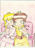 Peach and Daisy playing wii by megadaisy1
