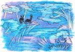 Oil Pastels: Blue Scenery by kxeron