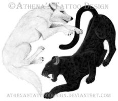 Yin Yang Wolf and Panther by athenastattoodesign