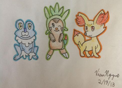 Pokemon X and Y starters by ramenlovervi