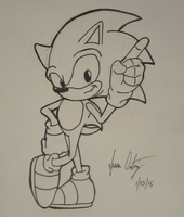 Sonic the Warm-Up Sketch by Somecallmejohnny