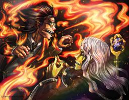 Raistlin and Faegan: Through the Fire and Flames by Kabudragon
