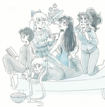 Sailor moon pajama party by Lemna