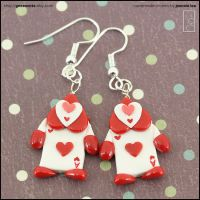 Heart Card Soldier Earrings by junosama