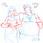 Saturn Girl and Chubby Lightning Lad by Empty-Brooke
