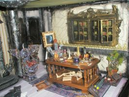 Grimhaunt Manor Miniature Dollhouse dinning room by grimdeva