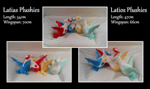 Latias and Latios Plushies by Starfighter-Suicune