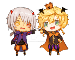 Resonance: Halloween chibis by PokeyPokums