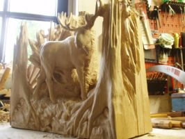 moose in progress 13B by woodcarve