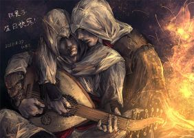 Altair and Ezio Playing Oud by sunsetagain