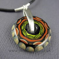 Doodle Disc lampwork pendant by janehamill