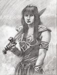 Xena Warrior Princess Lucy Lawless pencil drawing by KurtBrugel