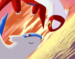 Latias Latios by GasMaskMonster