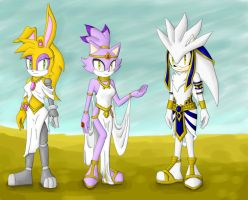 Sonic Egypt outfits - Bunnie, Blaze and Silver by mydreamisdraw
