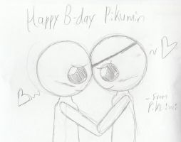 Isaac X Cain, Pikumin B-day card by PikminHensley