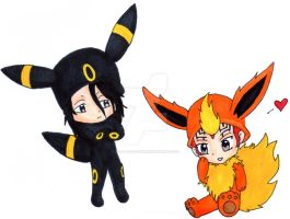 ByaRen as Umbreon and Flareon by Baka-customs