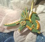 Handcrafted One of a Kind Green Dragon Ornament by Valtira