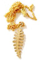 Gold Fern Necklace by deconstructedstars