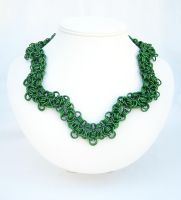 Green Scalloped Necklace by chainedoombaby