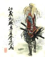 Blond Girl Samurai by MyCKs