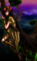 Forest Fantasy Lineart Colored by 1ceCub