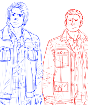 Sketching: Winchester Brothers by TokiDokiLoki