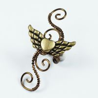 Brass Winged Heart Ear Cuff by Gailavira