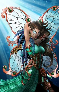 Metalynne the Steampunk Fairy (color) by napuaahina