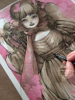The Cherry Blosson Doll - in progress by nati