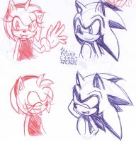 Sonic and amy sketch by heitor-jedi
