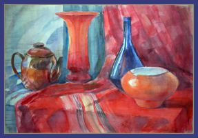 Still life, in red and blue by Segol-Hane