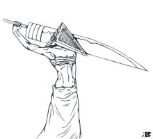 Female Pyramid Head -outline- by EC-DarkMatter