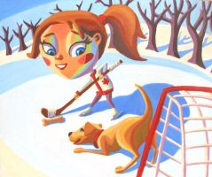 Canadian Hockey girl with Lab by HeatherIhn