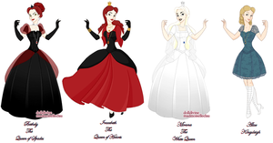 The 3 Queens + Alice by MobMotherScitah