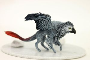 African grey parrot hybrid dragon-gryphon by hontor