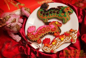 Chinese dragon cookie cutter cookies by The-SixthLeafClover