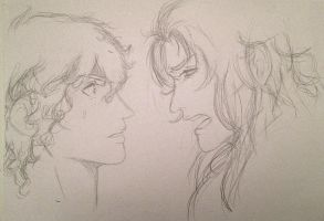 [St Seiya] - Aiolos x Saga (sketch) by Bloody-Addict