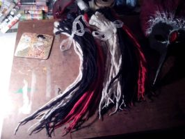 White Black and Red Wool Dreads by Bloodysfish