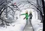 Abe and Jeremy Go For A Walk in the Snow by Miern