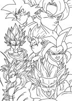 Goku stages_lineart by carapau