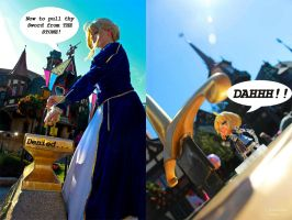 Fate Zero: Saber at Disneyland pulling Excalibur by Deadpool790