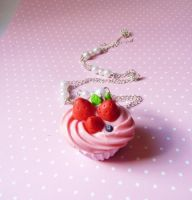 Pink cupcake necklace by lemon-lovely