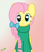 Fluttershy in a hair bow and sweater by mtfc1029