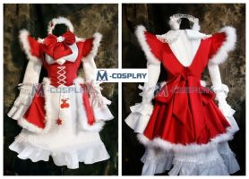 Red and White Winter Maid Dress by Mcosplay