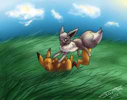 Contest Entry: Shiny Pikachu and Eevee by starrywolfie